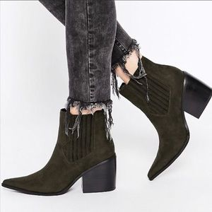 ASOS Western Elsa Green Suede Block Ankle Boots